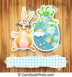 Easter background with egg, bunny and copy space. Vector eps 10