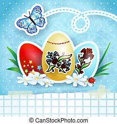 Easter background with eggs and butterfly, in blue. Vector