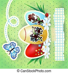Easter background with eggs and butterfly, in green. Vector