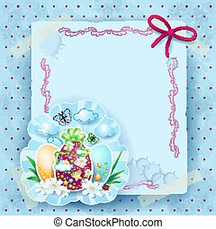Easter background with eggs and copy space, vector