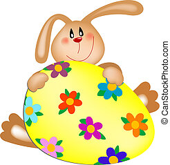 Easter bunny with a painted egg