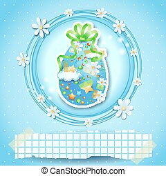 Easter card with Easter egg and copy space, vector eps 10
