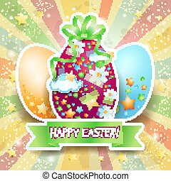 Easter card with Easter eggs and banner, vector