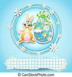 Easter card with egg, bunny and copy space. Vector eps 10