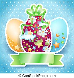 Easter card with eggs and copy space. Vector