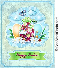 Easter card with eggs, in vintage style. Vector