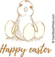 Easter. Easter chicken. Easter eggs.