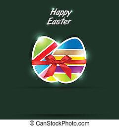 Easter eggs gift in green backgroun