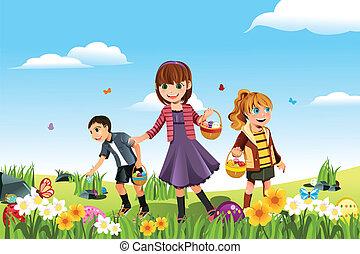 A vector illustration of kids celebrating Easter by going on an Easter egg hunt