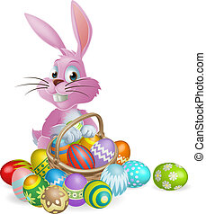 Easter eggs pink bunny