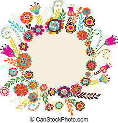 Easter greeting card with flowers, vector illustration
