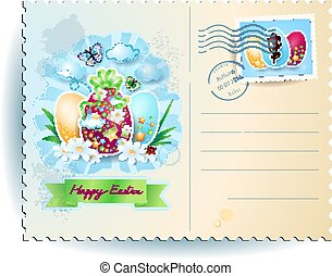 Easter postcard with eggs and banner, vector
