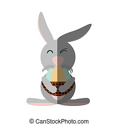 Easter rabbit with egg icon