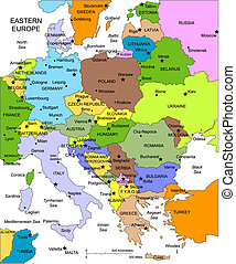 Eastern Europe Regional Map with individual Countries, Cities, Capitals, Editable Color, Names, Countries are individual objects that can be colored and changed so you can build a regional territory map or develop an illustration. Great for building sales and marketing territory maps, illustrations...