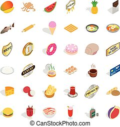 Eat greedily icons set, isometric style