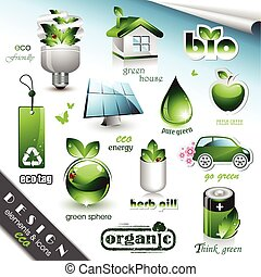 Vector set of ten design elements and icon with ecology motives.