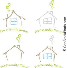 Stylized image of the eco friendly house with a window and a chimney. Colored vector illustration, icon. Can be used as logotype for your company.