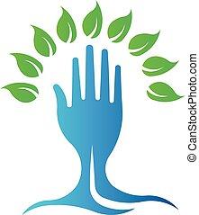 Eco Green Hand Tree. Vector Logo Symbol