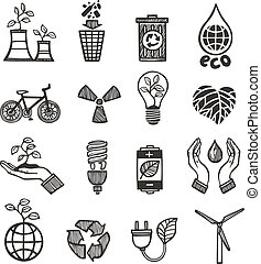 Ecology and waste icons set of plants garbage recycling isolated vector illustration