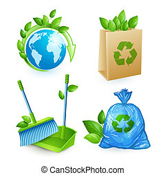 Ecology and waste icons set of trash recycling conservation isolated vector illustration
