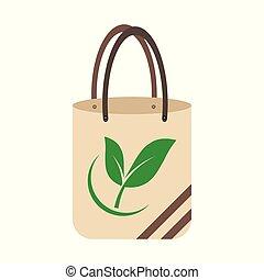 Ecology concept, eco-friendly fabric bag ideas. Vector illustration