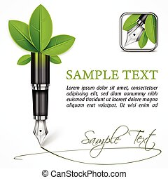 Ecology concept %u2013 fountain pen with leaves