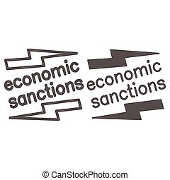 Economic sanctions text with lightning line and solid icon, economic sanctions concept, Economic sanction sign on white background, Signpost sanctions icon in outline style. Vector graphics.