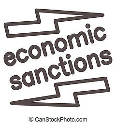 Economic sanctions text with lightning line icon, economic sanctions concept, Economic sanction sign on white background, Signpost sanctions icon in outline style. Vector graphics.
