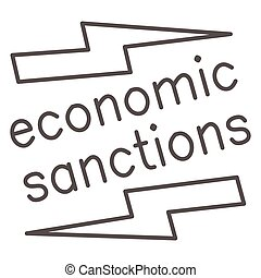 Economic sanctions text with lightning thin line icon, economic sanctions concept, Economic sanction sign on white background, Signpost sanctions icon in outline style. Vector graphics.