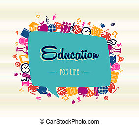 Education back to school social bubble global icons.