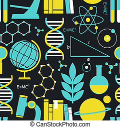 Seamless pattern with science and education symbols.