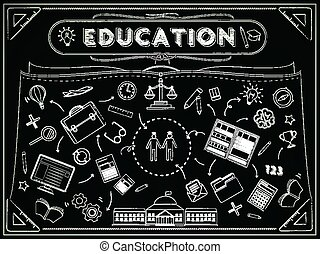 education blackboard with lovely icons