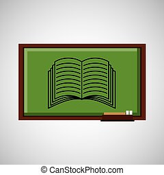 education concept blackboard with book