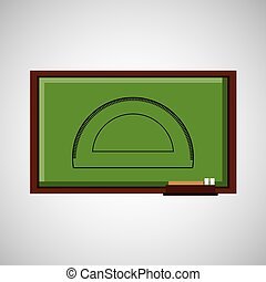 education concept blackboard with protractor