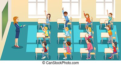 education, elementary school, learning and people concept - group of school kids with teacher sitting in classroom and raising hands.
