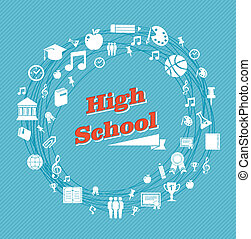 Education high school icons.