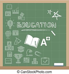 education icons on the blackboard