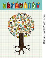 Education icons pencil tree.