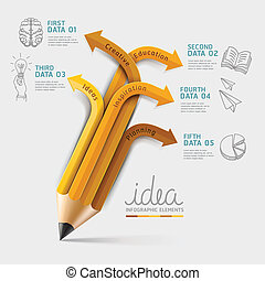 Education pencil Infographics step option. Vector illustration. can be used for workflow layout, banner, diagram, number options, step up options, web design.