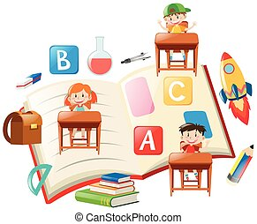 Education theme with kids and books