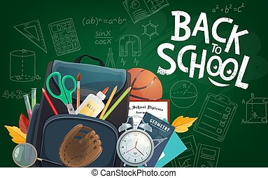 Educational blackboard Back to School lettering