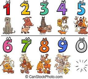 educational cartoon numbers set with dogs animal characters
