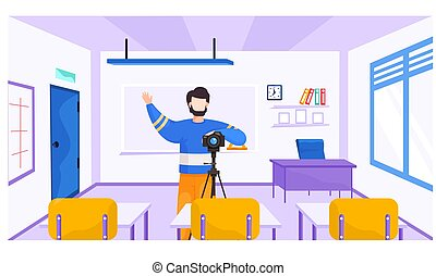 Educational courses, lesson for photographers. Guy with a camera on a tripod raises his right hand