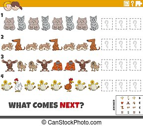 educational pattern game for kids with cartoon animals