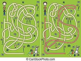 Egg hunt maze for kids with a solution