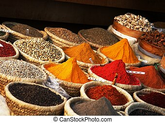 View of baskets full of various spices