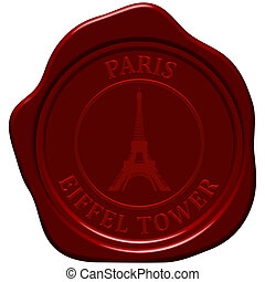 Eiffel tower. Sealing wax stamp for design use.