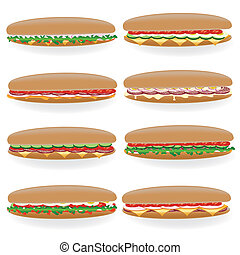 eight kind of big sandwich on the white background