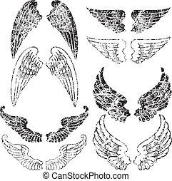 Eight Pairs of Grunge Angel Wings