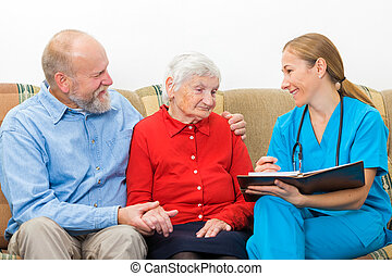 Elderly woman and her son at the doctor